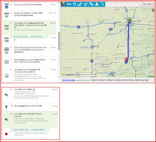 Driving Directions From Oklahoma City To Wichita Kansas